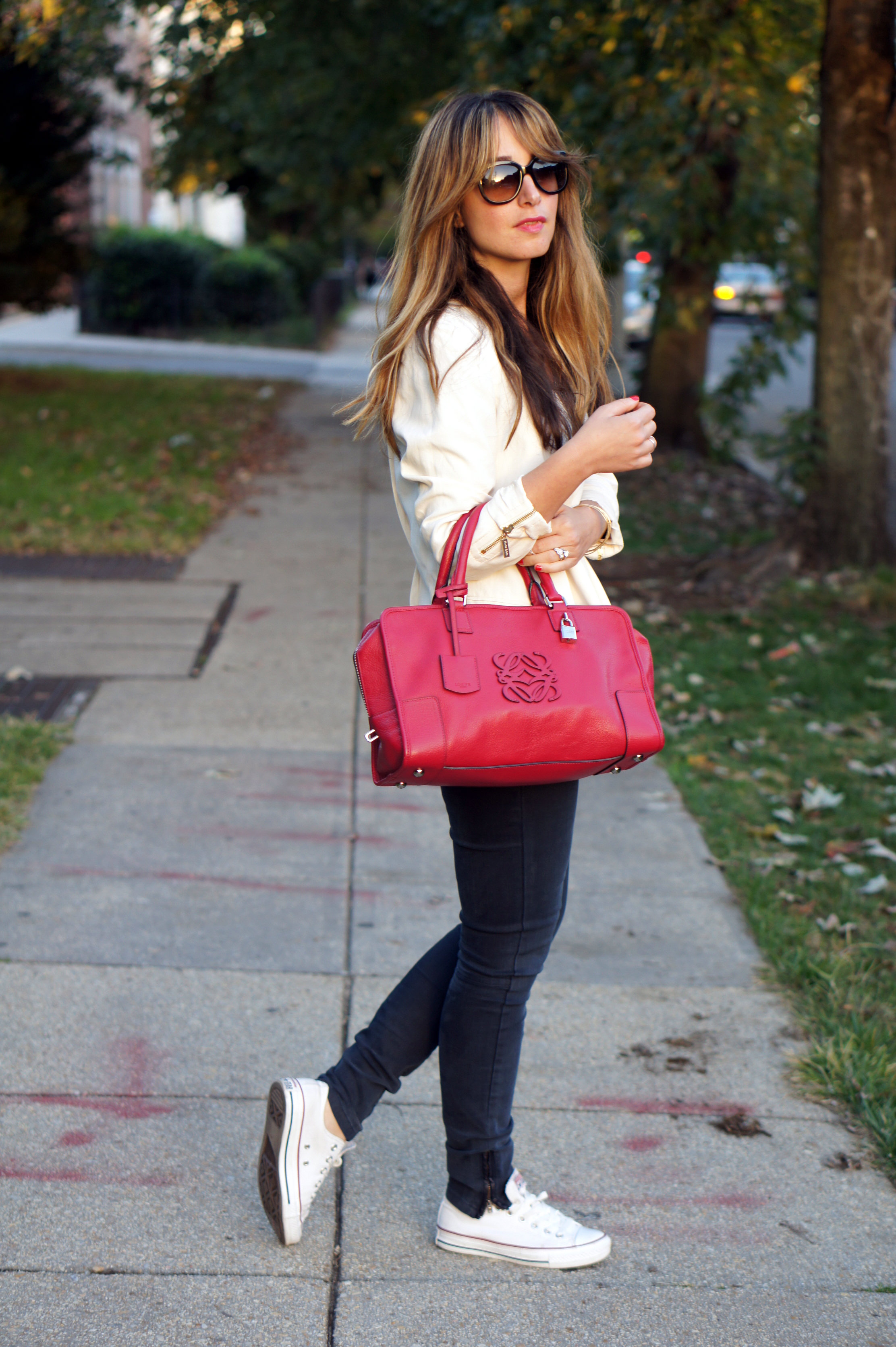 pink, pale pink, loewe, zara, bimba & lola, converse, stella mccartney, sunglasses, striped blouse, maje paris, denim, street style, fall style, fall