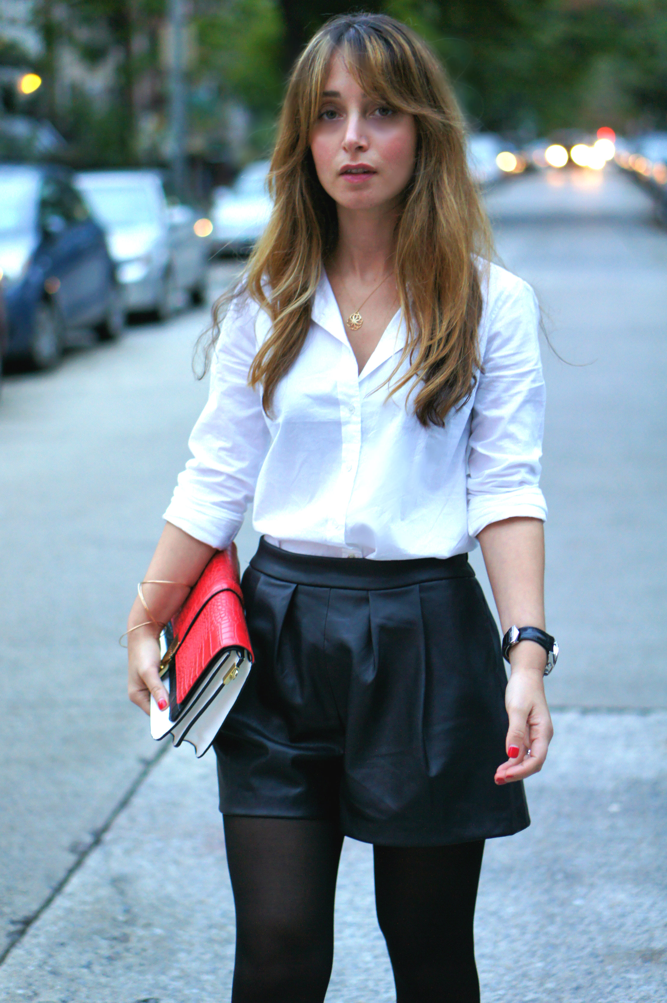leather shorts, white blouse, j.crew, clutch, booties, stella mccartney, black, black and white, red, streetstyle, fall, fall style, zara,