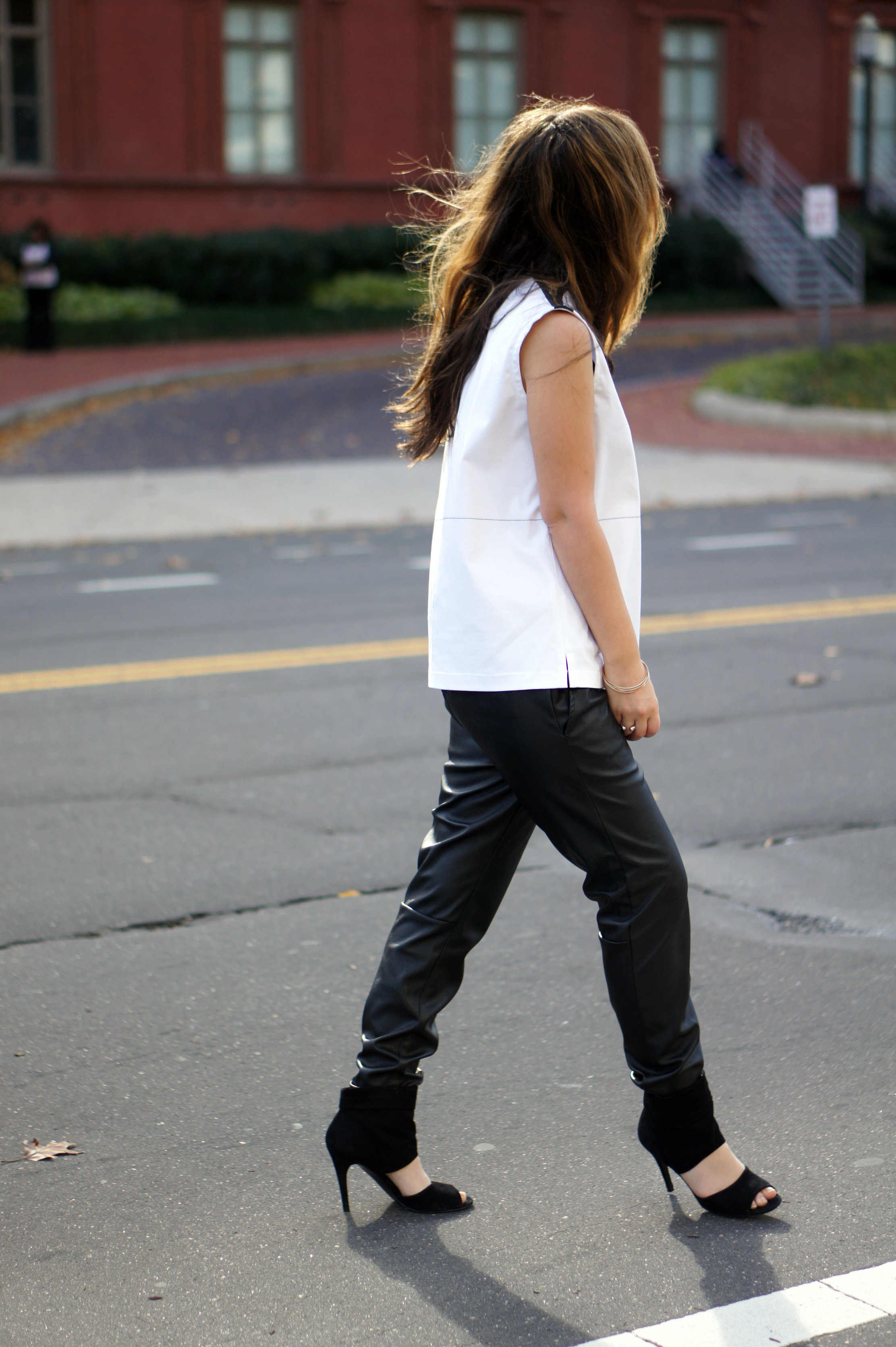 Black leather pants & white top