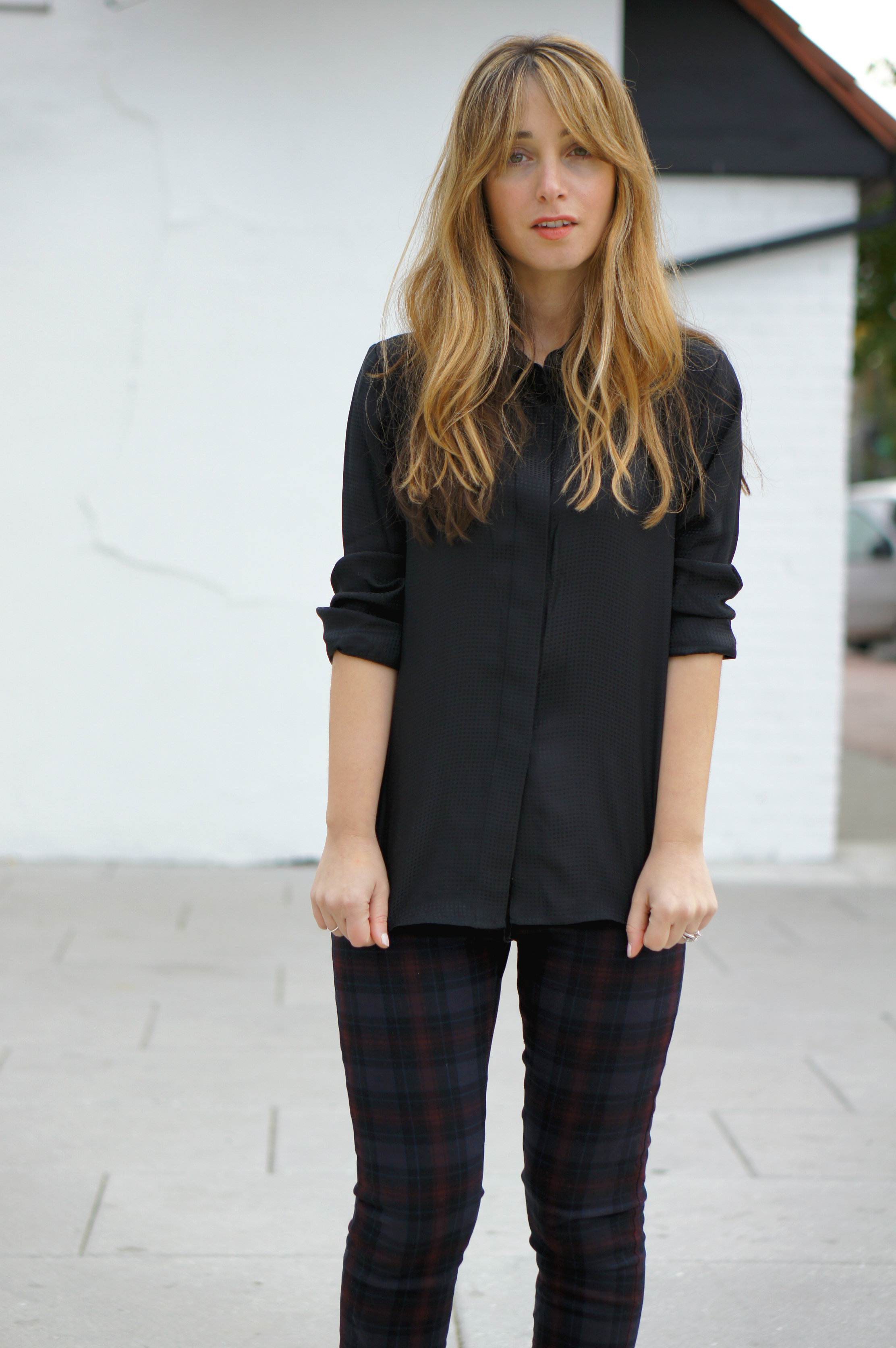 plaid, plaid trousers, blankNYC, pumps, Theory, blouse, fall style, street style, style, fall