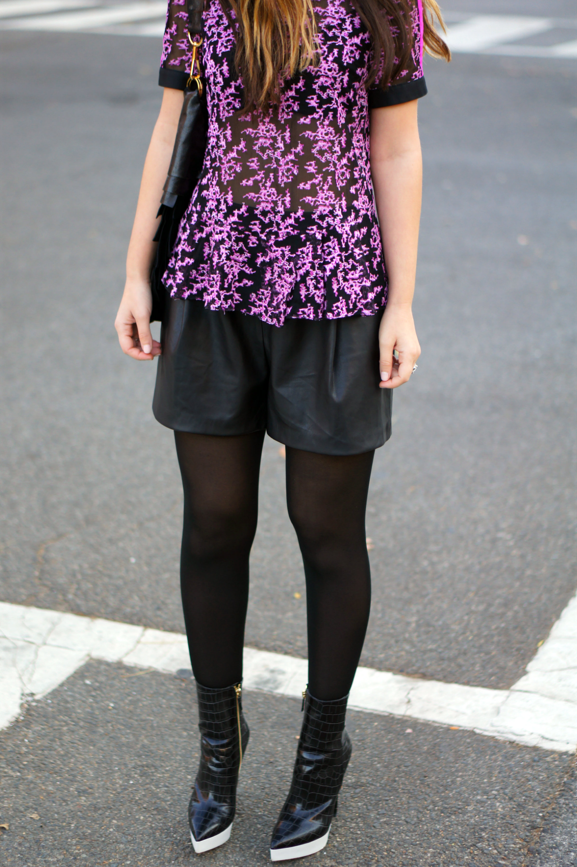 jennifer chun, nyc designer, peplum top, embroidered top, chiffon, purple, holiday look, holiday style, leather shorts, stella mccartney, booties, accessories, bag, YSL, yves saint laurent,