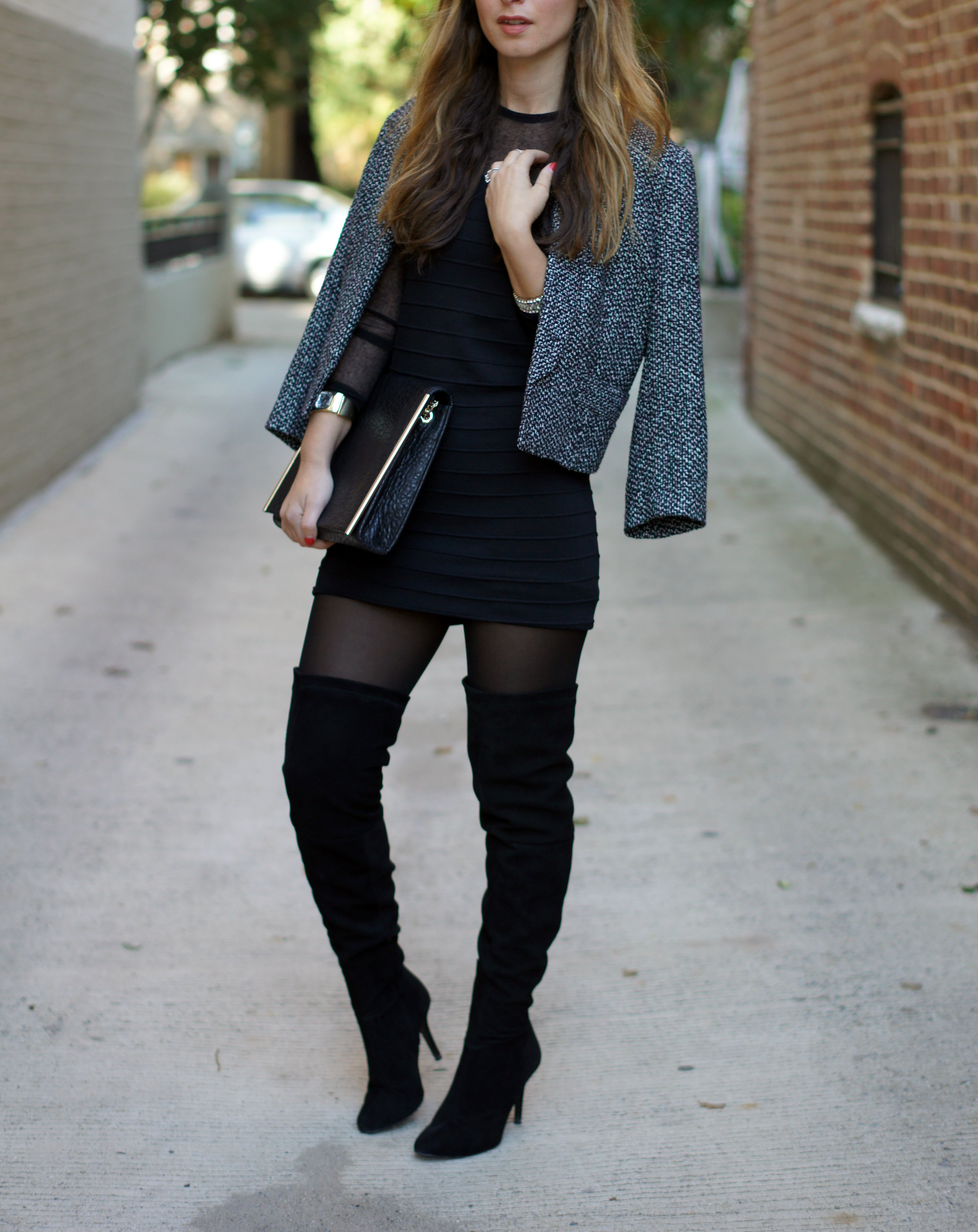 black dress, mini dress, long sleeve dress, knee high boots, over the knee boots, jewelry, j.crew, uterque, zara, H&M, cropped blazer, NYE look, style, DC