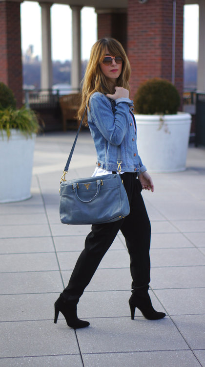 Denim jacket & Prada bag