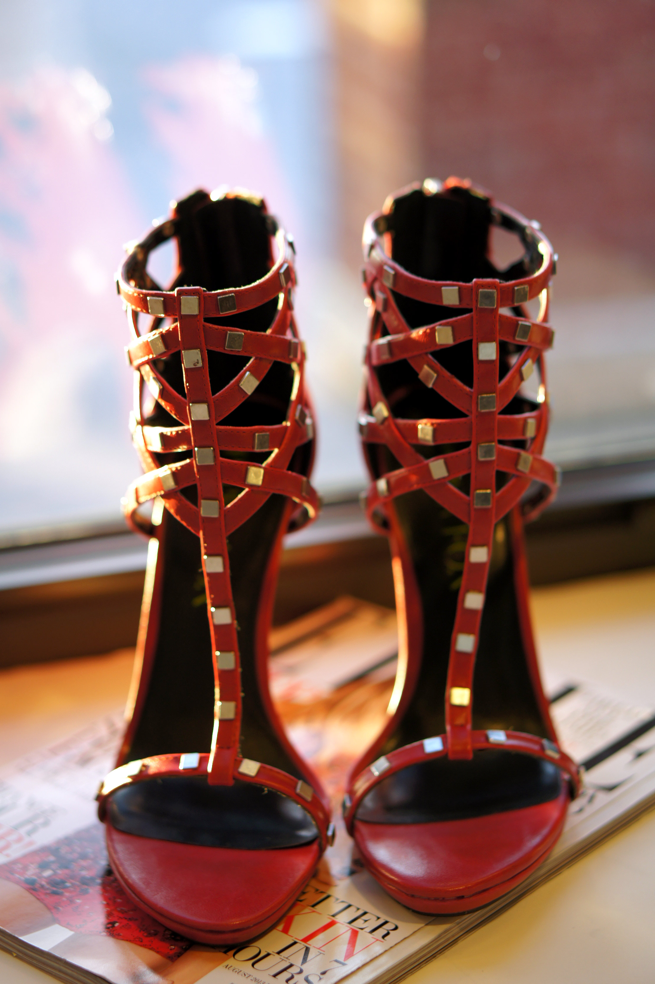 Shoedazzle Red Studded Heels For NYE