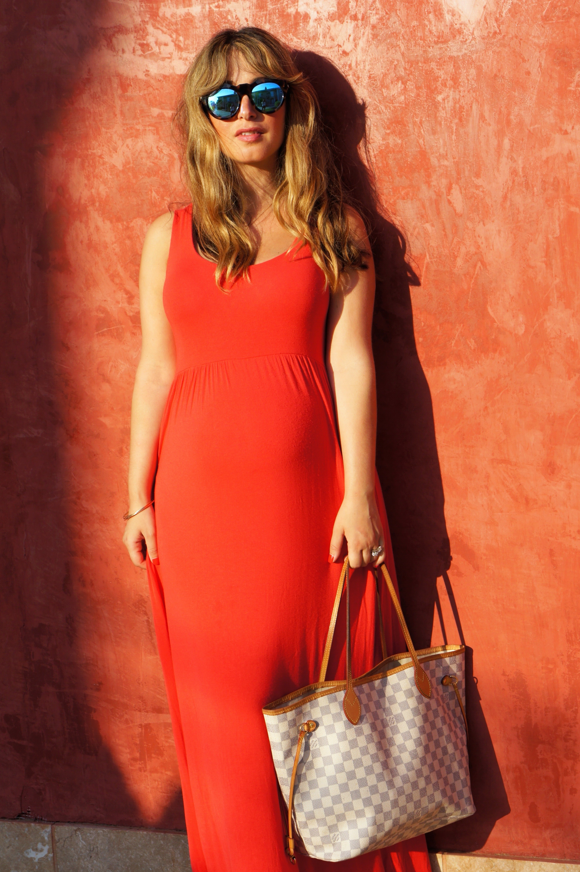red maxi dress, maternity dress, louis vuitton bag, le specs sunglasses