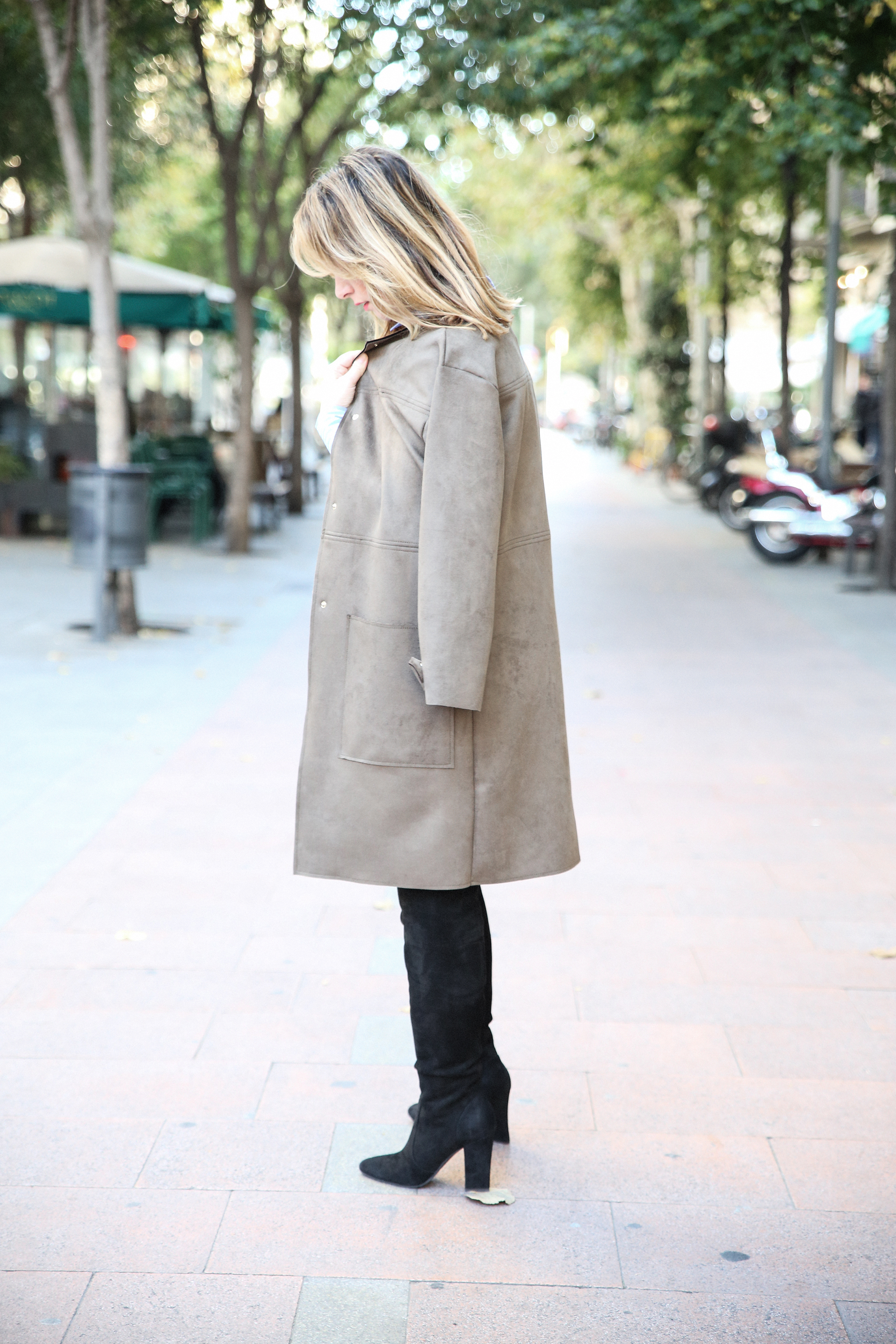 Long Coat & Knee High Boots